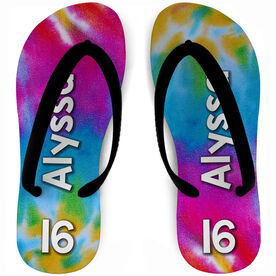 Softball Flip Flops Personalized with Tie Dye