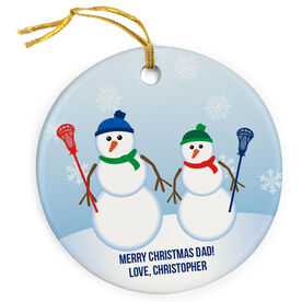 Guys Lacrosse Porcelain Ornament Dad Snowman