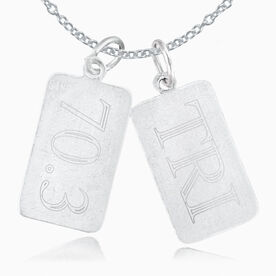 Sterling Silver 70.3 Rectangular Tag Charm and Tri Rectangular Tag Charm Double Charm Necklace