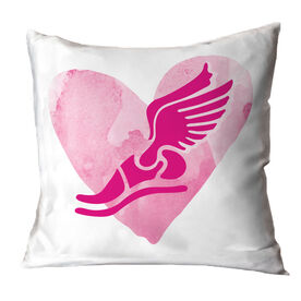 Track and Field Throw Pillow Watercolor Heart Winged Foot