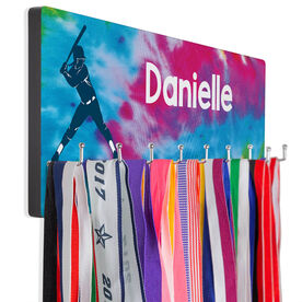 Softball Hooked on Medals Hanger - Personalized Batter With Tie-Dye