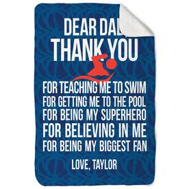 Swimming Sherpa Fleece Blanket Dear Dad