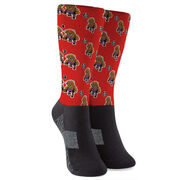 Seams Wild Wrestling Printed Mid-Calf Socks - Herdya (Pattern)