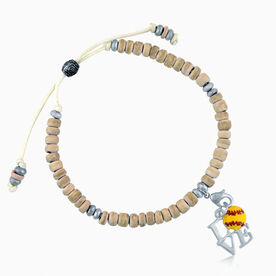 Natural SportBEAD Adjustable Bracelet - Love Softball Charm