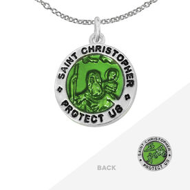 Triathlete St. Christopher Necklace - Green (1.5cm)