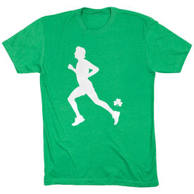 Running Short Sleeve T-Shirt - Male Runner With Shamrock