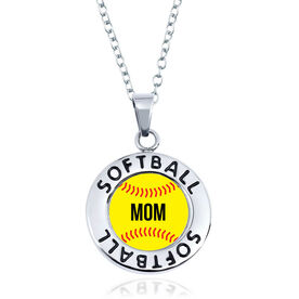 Softball Circle Necklace - Ball With Mom