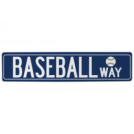 "Baseball Aluminum Room Sign - Baseball Way  (4""x18"")"