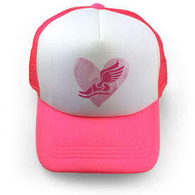 Cross Country Trucker Hat Watercolor Heart Winged Foot