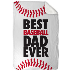 Baseball Sherpa Fleece Blanket Best Dad Ever