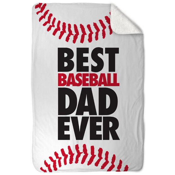 Baseball Sherpa Fleece Blanket - Best Dad Ever