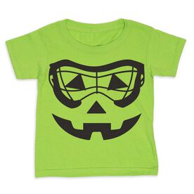 Girls Lacrosse Toddler Short Sleeve Tee - Lacrosse Goggle Pumpkin Face