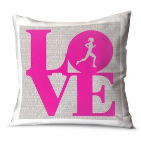 Running Throw Pillow Love Inspiration Female