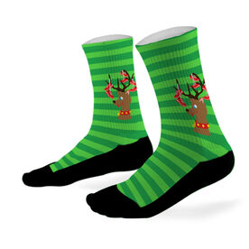 Running Printed Mid Calf Socks Reindeer with Running Shoes