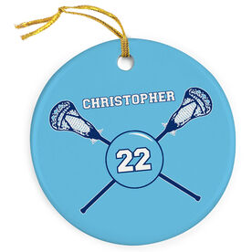 Guys Lacrosse Porcelain Ornament Crossed Sticks Personalized