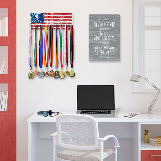 Skiing Hooked on Medals Hanger - American Flag