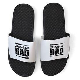 Baseball White Slide Sandals - Baseball Dad