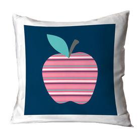 Teacher Throw Pillow - Striped Apple
