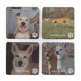 Personalized Stone Coasters Set of Four - Custom Dog Photo