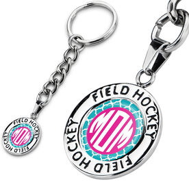 Field Hockey Circle Keychain Field Hockey Quatrefoil Mom-ogram