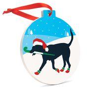 Field Hockey Round Ceramic Ornament - Fabo The Field Hockey Dog