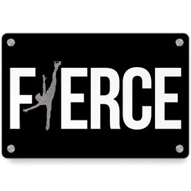 Figure Skating Metal Wall Art Panel - Fierce Figure Skater With Silver Glitter