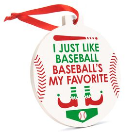 Baseball Round Ceramic Ornament - Baseball's My Favorite