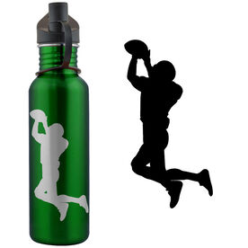Football Silhouette 24 oz Stainless Steel Water Bottle