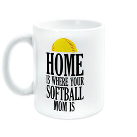 Softball Coffee Mug - Home Is Where Your Softball Mom Is
