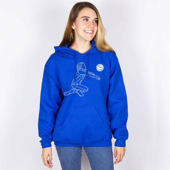 Volleyball Hooded Sweatshirt - Volleyball Girl Player Sketch