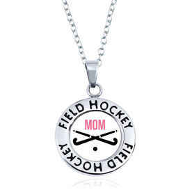 Field Hockey Circle Necklace - Crossed Sticks With Mom