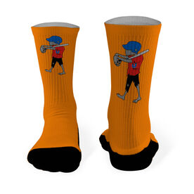 Softball Printed Mid Calf Socks Zombie Softball Player