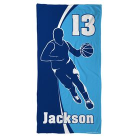 Basketball Beach Towel Personalized Guy with Big Number