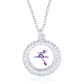 Crew Braided Circle Necklace - Female Rower Silhouette