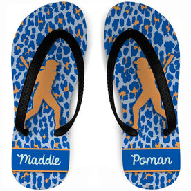 Softball Flip Flops Personalized Batters with Leopard Pattern