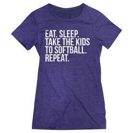 Softball Women's Everyday Tee - Eat Sleep Take The Kids To Softball