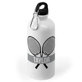 Tennis 20 oz. Stainless Steel Water Bottle - Personalized Crossed Tennis Rackets