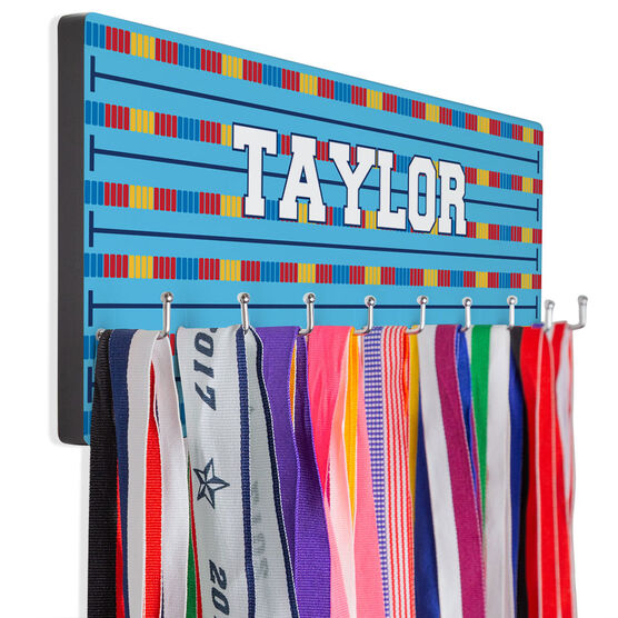Swimming Hooked on Medals Hanger - Personalized Lanes