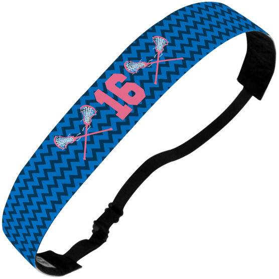 Girls Lacrosse Juliband No-Slip Headband - Personalized Chevron Crossed Sticks and Number