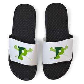 White Slide Sandal - Pentucket Youth Girls Lacrosse Logo