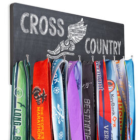 Cross Country Hooked on Medals Hanger - Winged Foot Inspirational Words