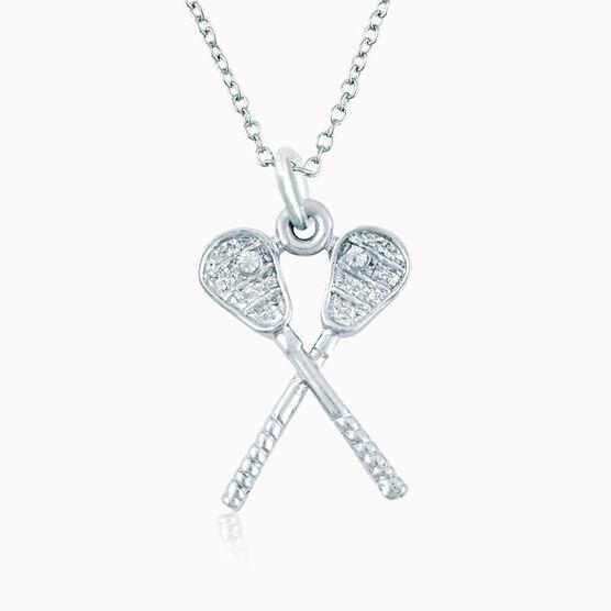 Silver Crossed Lacrosse Sticks Necklace