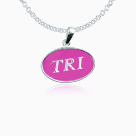 Sterling Silver and Pink Enamel Triathlon Pendant Necklace