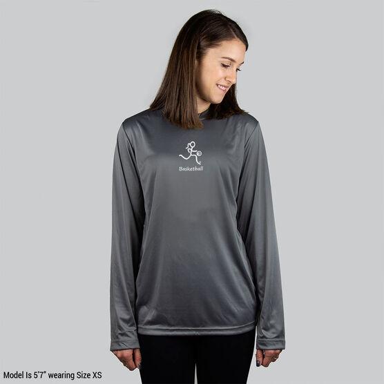 Basketball Long Sleeve Performance Tee - Basketball Girl White Stick Figure with Word