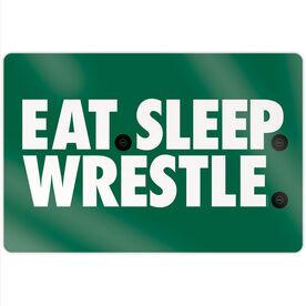 """Wrestling 18"""" X 12"""" Aluminum Room Sign - Eat Sleep Wrestling"""