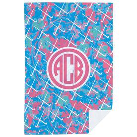 Field Hockey Premium Blanket - Floral Monogram