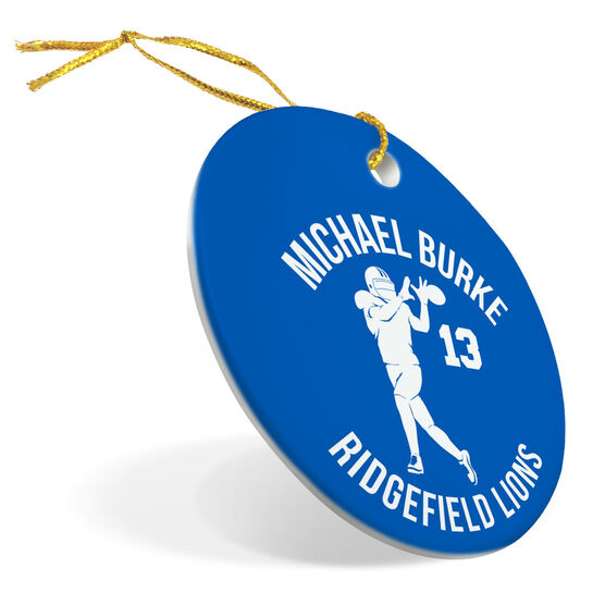 Football Porcelain Ornament Personalized Football Team with Wide Receiver Silhouette