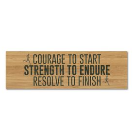 """Running 12.5"""" X 4"""" Printed Bamboo Removable Wall Tile - Courage To Start Strength To Endure Resolve To Finish"""