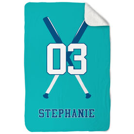 Softball Sherpa Fleece Blanket Personalized Player with Crossed Bats
