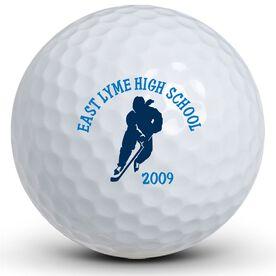 Hockey Girl Silhouette Golf Balls
